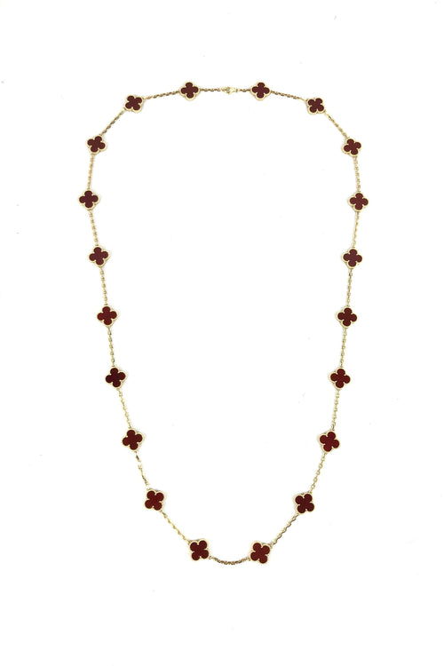 Vintage Alhambra Long Yellow Gold & Carnelian Necklace