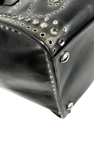 Aged Black Calf Leather Twin City Tote w/ Grommet & Stud Embellishment - Haute Classics