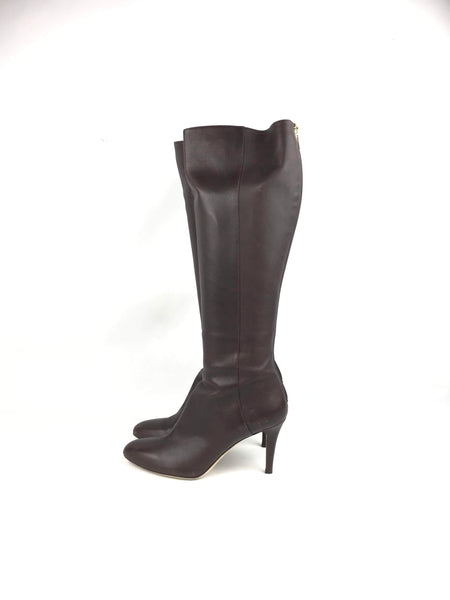 Brown Leather Grained Heeled Knee-High Boots
