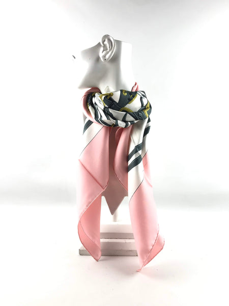 "Pink/White/Grey ""Brides de Gala"" Silk Scarf"