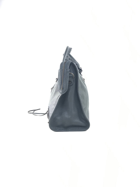 Metallic Edge Grey Medium City Bag