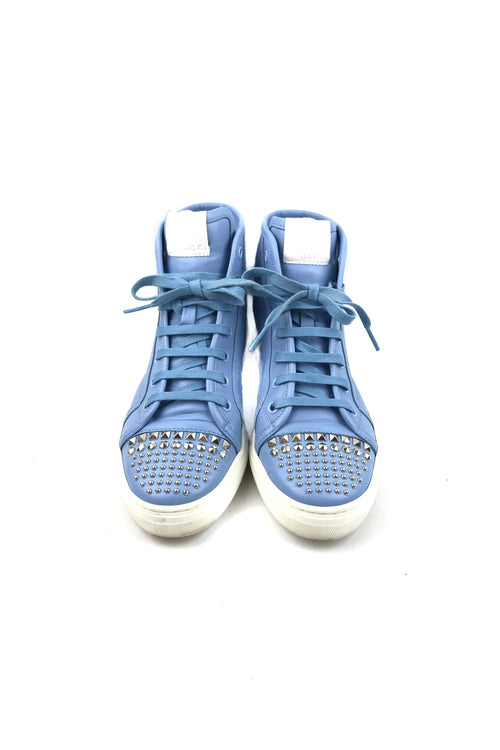 Light Blue Leather Studded High Top Sneakers