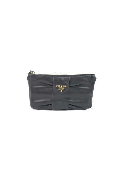 Black Smooth Leather Bow Pochette