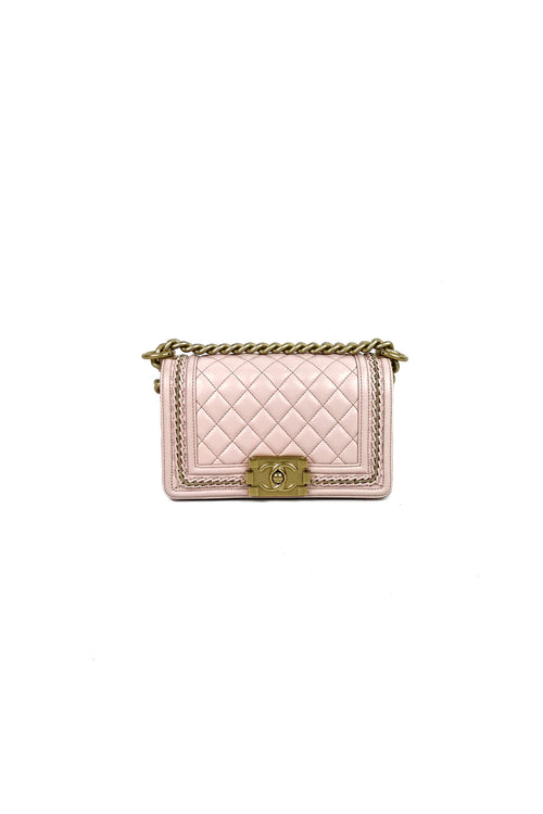 Pink Lambskin Small Boy Bag w/ Chain Woven Detail