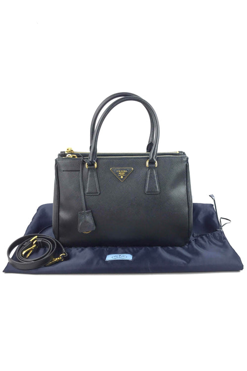 Black Saffiano Leather Small Double Lux Tote