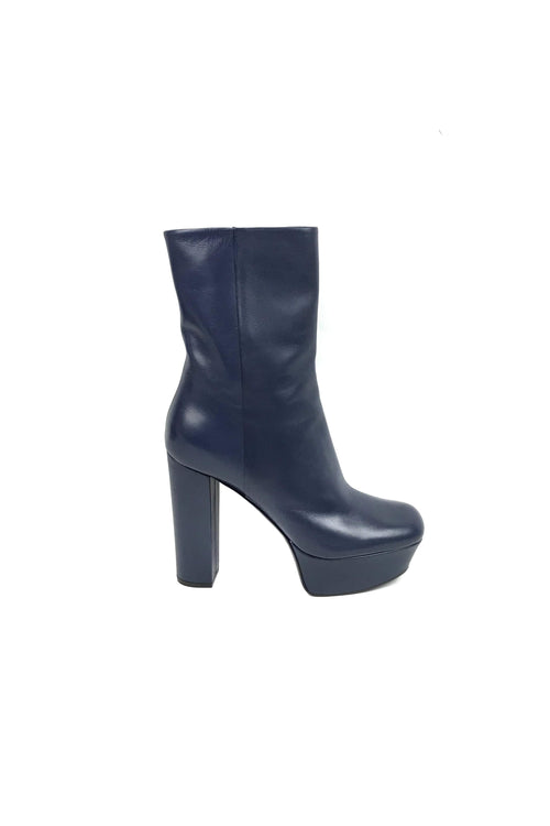 Navy Blue Leather Ankle High Heel Boots