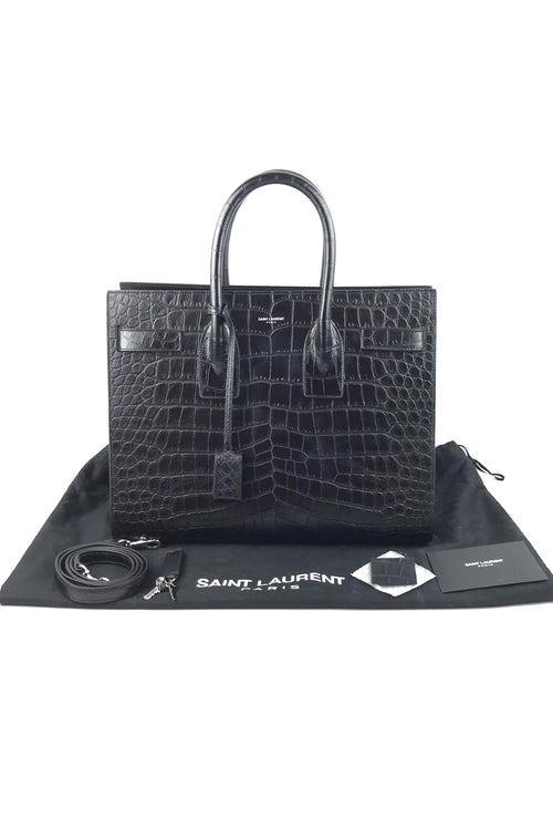 Black Croc Embossed Small Sac De Jour W/ SHW
