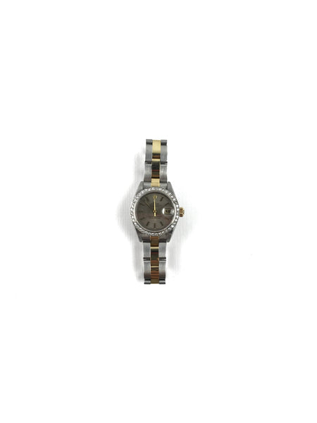 Black Epsom Leather Yellow-Gold Plated Kelly Watch W/ Black Dial