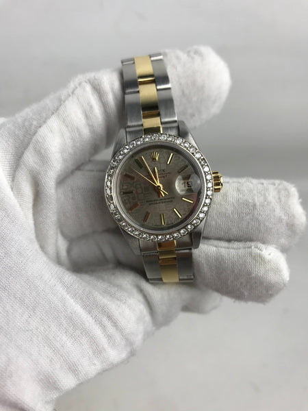 Oyster Perpetual Datejust 26 18K & Steel Band W/Aftermarket Diamond Bezel 2 tone