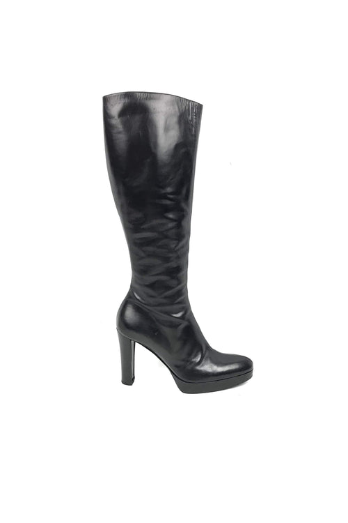 Black Knee High Heel Boots (Zip Up) - Haute Classics