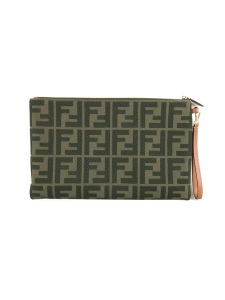 Khaki Large Canvas Logo Embossed Pouch W/GHW