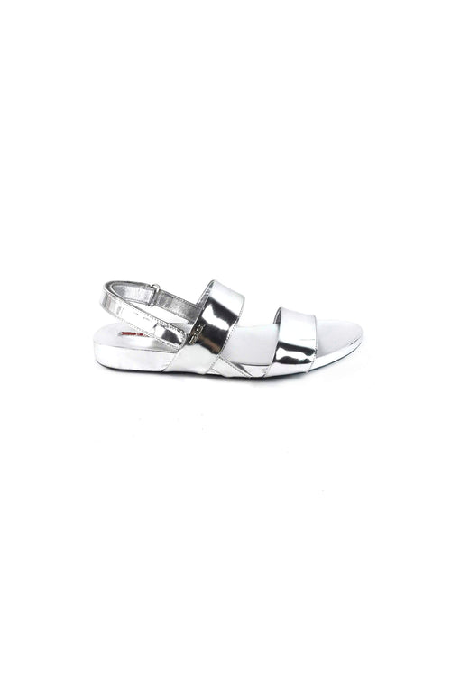 Metallic Silver Leather Sandals