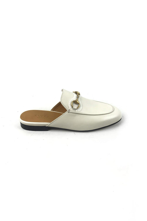 Mystic White Leather Princetown Slipper W/GHW