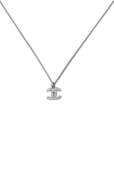 Crystal CC Pendant On Silver-Tone Chain