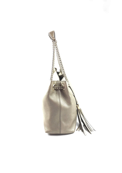 Metallic Light Gold Soho Leather Shoulder Hobo Bag W/ LGHW
