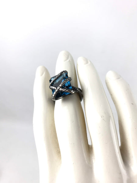 Blacked Sterling Silver Hampton Blue Topaz Cocktail Ring