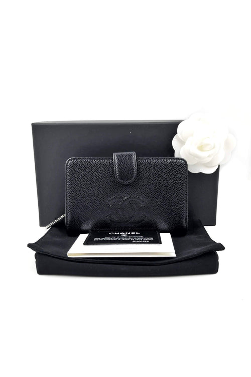 Black Caviar French Purse Wallet W/ SHW