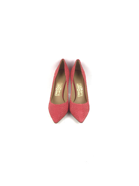 Susi 100 Light Red Snakeskin Pointy Toe Heels