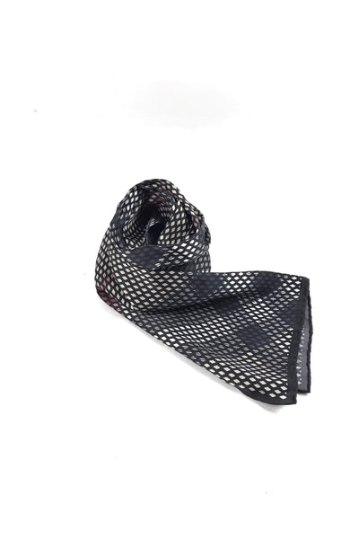 Black/White/Grey Diamond Print Silk Long Scarf