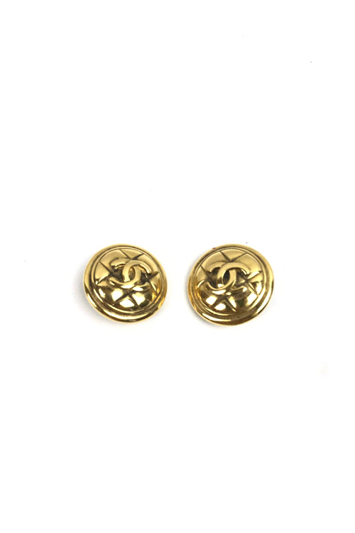 Gold Plated Clip On Quilted Logo Earrings