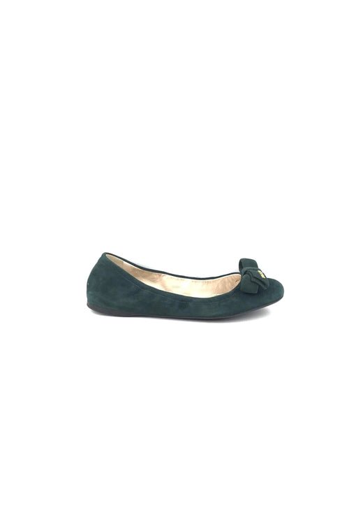 Dark Green Suede Rounded Toe Flat