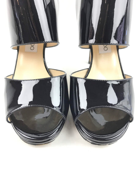 Black Patent Leather Private 100 mm Sandals
