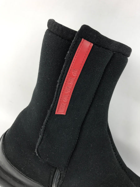 Black Stretchy Scuba Fabric Rain Ankle Booties