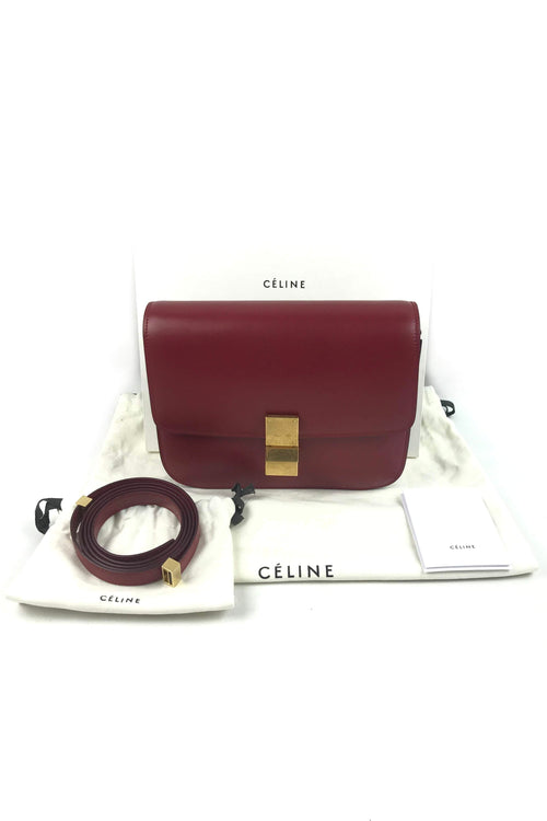 Red Smooth Calfskin Medium Classic Box Bag W/ GHW