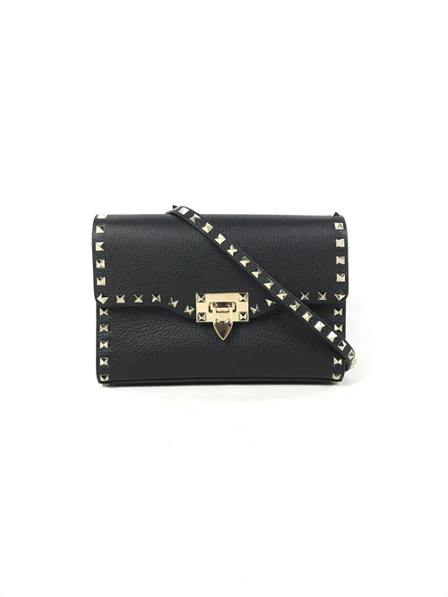 Black Rockstud Crossbody Bag W/GHW