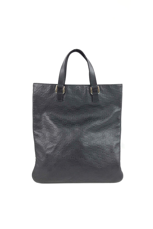 Black Guccissima Leather Slim Tote W/ LGHW