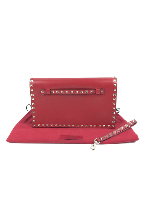 Red Nappa Leather Rockstud Envelope Clutch W/ GHW