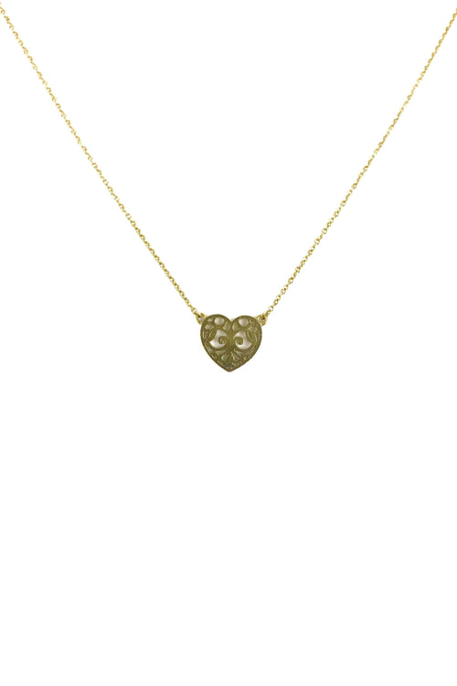 "18k Yellow Gold Cutout Heart Pendant On 16"" Chain"