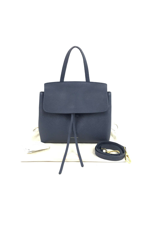 Navy Tumble Leather Mini Lady Bag W/ GHW