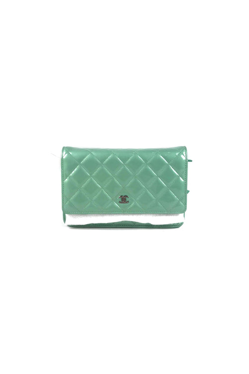 Mint Green Quilted Patent Leather WOC W/SHW