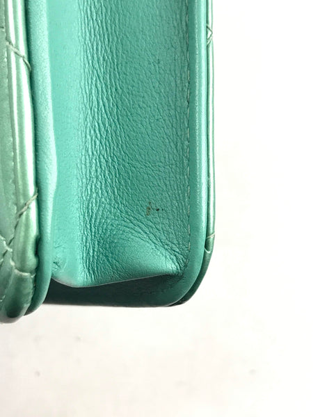 Baby Blue Grained Leather Card Holder Wallet W/ GHW - Haute Classics