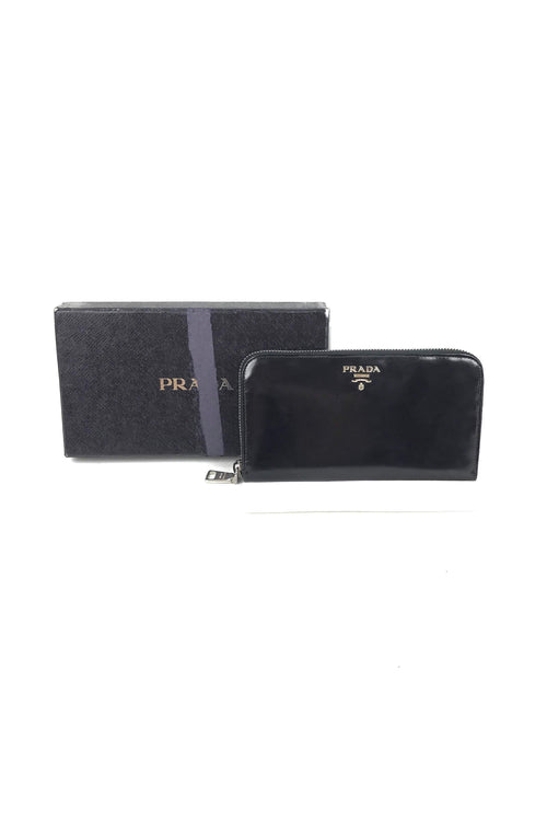 Black Smooth Leather Zip Around Wallet W/ SHW