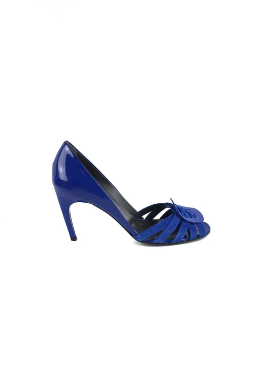 Cobalt Blue Patent Leather/Suede Gigi Sandals