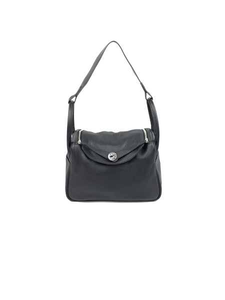 Metallic Black Sheen Grained Leather Shoulder Bag