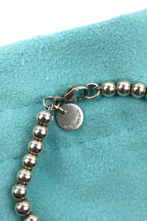 Sterling Silver Ball Bracelet w/ Mini Gold Heart Pendant