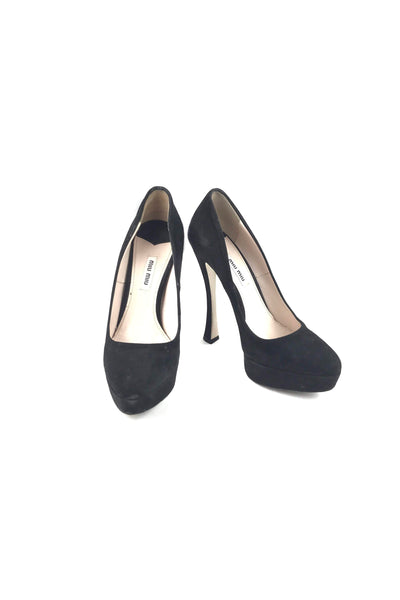 Black Suede Platform Pumps