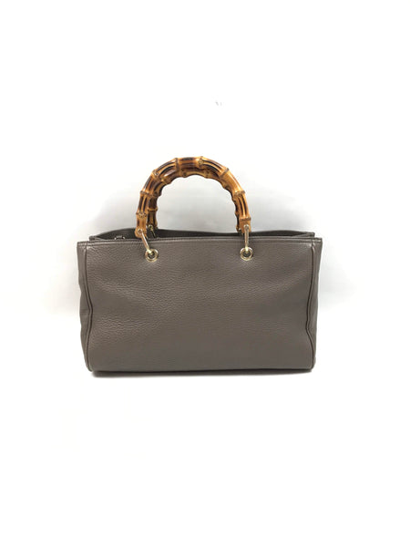 Taupe Grained Leather Bamboo Tote W/LGHW