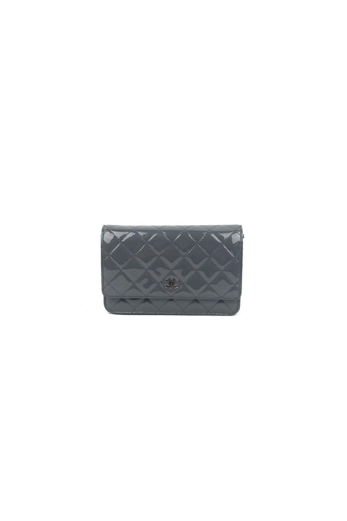 Grey Patent Wallet on Chain Bag SHW