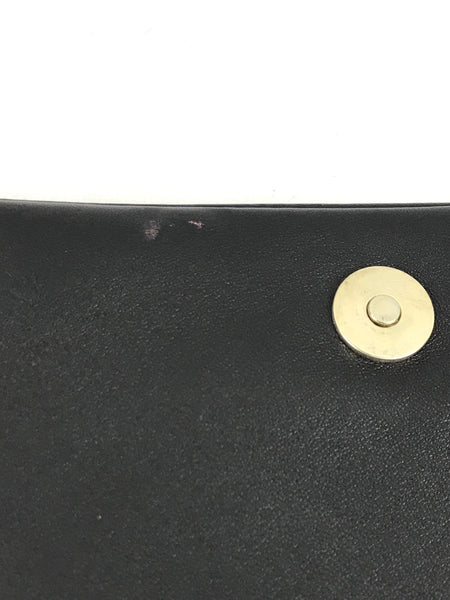 Black Smooth Leather Clutch & Grommet Details W/ LGHW