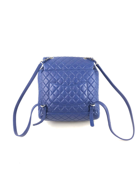 Royal Blue Lambskin Quilted Urban Spirit Large Backpack W/ SHW