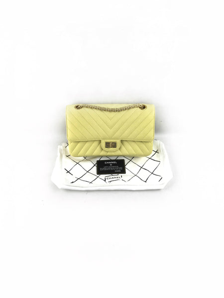 Yellow Chevron Calfskin Reissue 2.55 255 Flap Bag W/AGHW