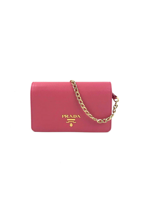 Pink Saffiano Mini Flap Bag W/GHW