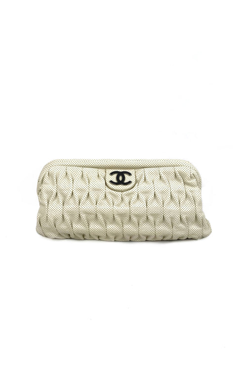 White Perforated Leather Clutch w/ SHW
