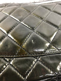 Metallic Patent Green Quilted Single Flap Bag W/SHW