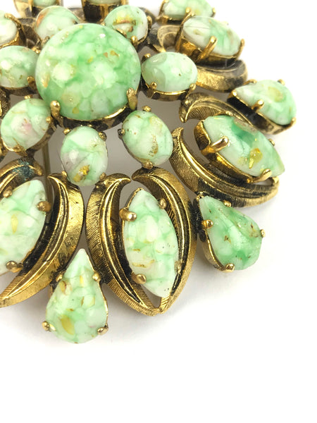 Vintage Gold/Faux Green Jade Flower Brooch