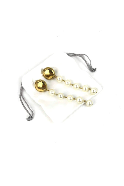 Faux Pearl Drop Clip-On Earrings W/ GHW